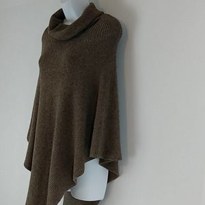 3 Sisters Brown Cowl Neck Knitted Poncho